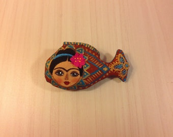 textile brooch fish Frida hand painted brooch pin wearable art woman portrait brooch painting fabric brooch stylish accessories mexican art