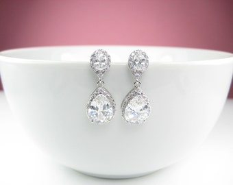 CZ Wedding Earrings Crystal Earrings, Drop Earings Dangle Earrings Vintage Wedding Earrings Bridal Jewelry FREE shipping, Earrings UK Seller
