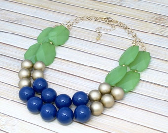 Chunky Jewelry - Chunky Large Bead Necklace - Green and Navy Blue Rounds Necklace -  Multi Layered Statement Necklace - Color Block Necklace