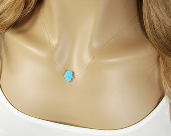 Hamsa Hand  Light Blue Opal Clear Necklace Floating Invisible illusion Fashion Jewelry Girls