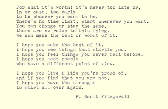 F. Scott Fitzgerald Qu...F Scott Fitzgerald Quotes For What Its Worth