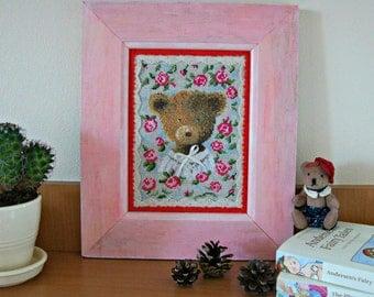 Framed cross stitch teddy bear portrait shabby chic Nursery wall art pink girl bedroom decor romantic roses floral teddy lovers cute gift