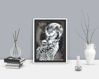 Wolf howling at the moon A4 giclee matte print