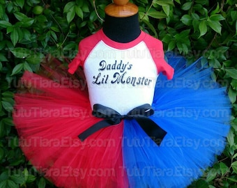 "SALE Harley Quinn Suicide Squad Tutu Costume Set w/ Daddy's Lil Monster Red Sleeved Top & Red and Blue 8"" Extra Full Tutu for Babies, Girls"