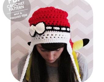 crochet pattern - pokeball hat - pokemon hat - pokemon go - pokemon anime - crochet pokemon hat - winter hat - earflap hat