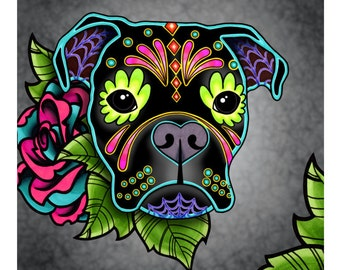 Boxer in Black - Day of the Dead Sugar Skull Dog Art Print - 8 x 10 - Prints for Pits Rescue Donation