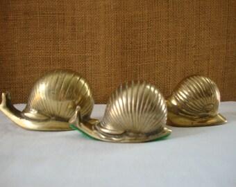 3 VINTAGE BRASS SNAILS Cast Brass Snail Cute Yard Creature Seaside Cottage Brass Snail Set of 3 Small Snail Medium Snail Large Snail Brass