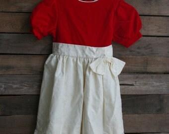 Vintage Red & White Velour Children's Dress by Martha's Miniatures
