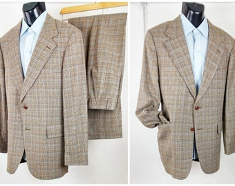 Mens Suit 40L Medium Wool Blue & Brown Plaid 1960's - 1970's Business Suit Corporate Menswear Armor of Modern Men