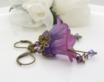 Bright magenta pink and violet pink purple earrings, purple lucite flower dangle earrings, in antique vintage style brass bronze