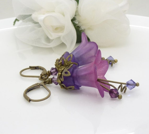 magenta pink and violet purple earrings in antique bronze. Black Bedroom Furniture Sets. Home Design Ideas