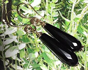 Black Onyx Earrings, Gemstone Earrings, Gold Earrings, Drop Earrings, Dangle Earrings, Faceted Stone Earrings