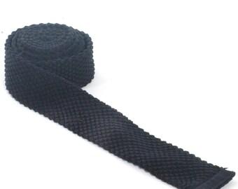 Vintage Black Skinny Knit Tie - www.brickvintage.com
