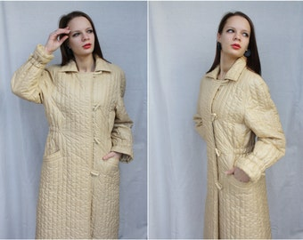 Puffer Coat Quilted puffy coat Winter Coat 80's Long down puffer coat Ivory cream Quilted Long coat Small Medium vintage autumn coat