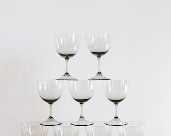 Nine Midcentury Smoke Glass Wine Glasses