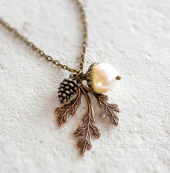 Acorn pendant necklace pinecone necklace oak leaf necklace like this item mozeypictures Image collections