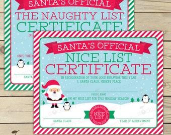 Naughty list etsy for Nice list santa letter