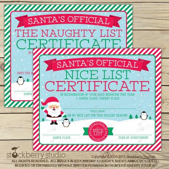 Santa nice list certificate christmas printables kids like this item spiritdancerdesigns Gallery