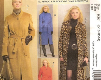 Classic Lined Coat & Tote Bag, Fit by Palmer Pletsch, Womens Size 8 10 12 14 Uncut Sewing Pattern