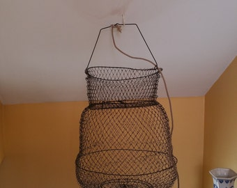 Large Vintage Collapsible Wire Fish Basket French Woven Wire Hanging Fish Basket