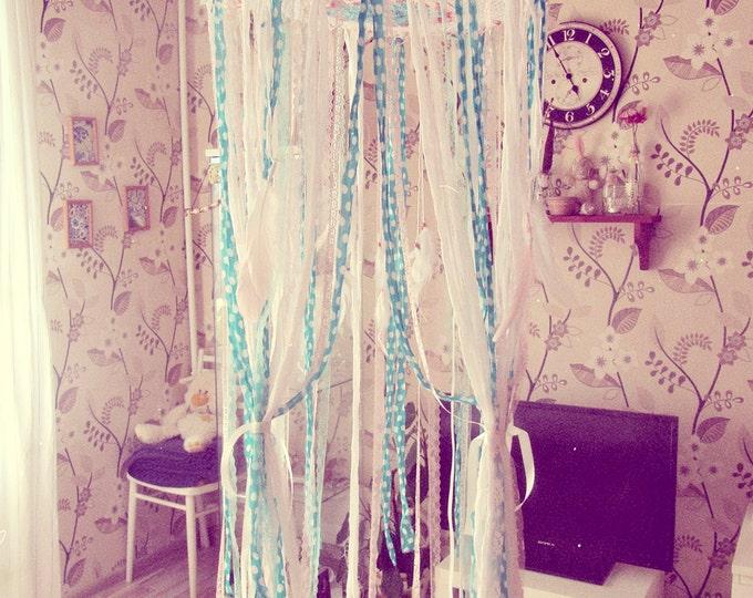 Country Bedroom Decor - Canopy Bed Tent - Shabby Boho Nursery Decor - Bohemian Bedding - Crib Crown - Lace Canopy - Baby Shower Decor