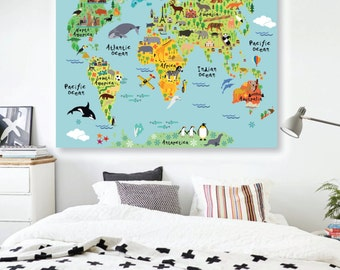 World Map Decal Etsy - Kids world map wall decal