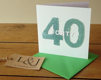 40th Birthday, 40 Years Old, 40th Birthday Gift, 40 And Fabulous, Birthday Card, 40 Birthday, Forty Birthday, Fortieth, Happy Birthday