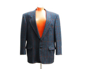 Vintage Pierre Cardin XL blazer jacket, dark blue, orange, red, turquoise checkered wool suit jacket for men, Windsor Austria Paris, 1980s