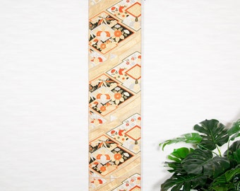 "Wall hanging Japanese Kimono Obi "" Vintage,Diamond,chrysanthemum,No.1""(Fu-a001-1)"