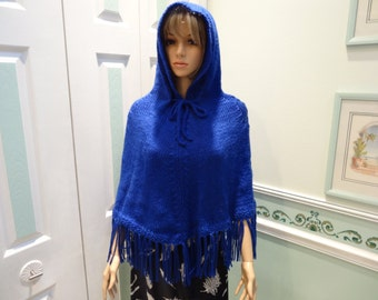 ROYAL BLUE CAPE, Hooded cape/ poncho, with fringe, hand knitted in a soft bulky weight yarn , chest size 32 to 38 inches
