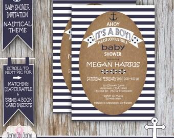 Nautical Baby Shower Invitation, Ahoy It's A Boy Shower, Nautical Baby Shower Ideas, Navy Blue and White Anchor, DIY PRINTABLE - NBS002