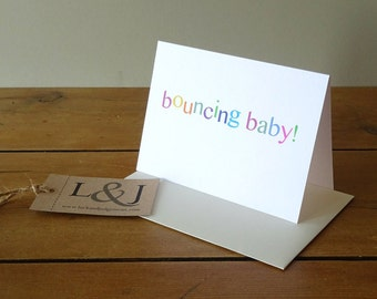 Cute baby shower card, new mommy expecting card, new baby boy card, new baby girl, pregancy card for bff, new parents card for newborn baby