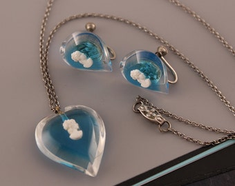 Vintage Lucite Cameo Necklace, Earrings Set | Blue Cameo | Blue & White