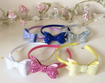Large Chunky Glitter Bow Alice Band Choice of 31 colours. Pink, red, white, gold, blue, silver etc