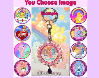 CARE BEARS Keyring Keychain Key Ring Chain U Choose Image & Colours Bottlecap Modern Vintage Carebears Logo Tenderheart Grumpy Funshine Bear