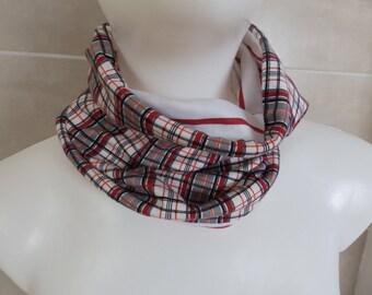 checkered or striped loop 100% cotton red black white Kinderloop Wendeloop from 3 years + elastic girl