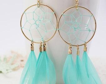 Dream Catcher Earrings, Green Earrings, Feather earrings, Boho earrings,