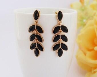Black leaf Earrings, Gold and Black Earrings, Simple Earrings, Leave Earrings