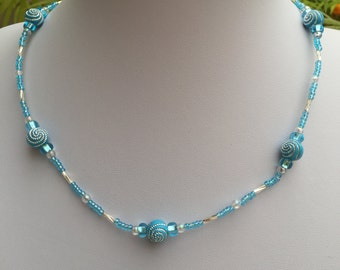 Hand Crafted Blue and Silver Beaded Necklace.