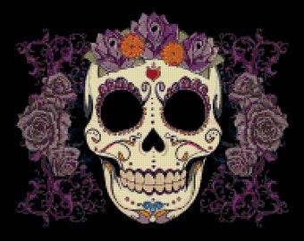 ON SALE Sugar Skull - pop art - 193 x 167 stitches - Cross Stitch Pattern Pdf - INSTANT Download - B776
