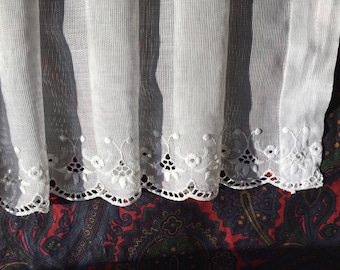 vintage 1940 lace fabric pieces Floral Embroidery White cotton 41 inch by 13 For sewing ,clothing ,craft ,shabby chic, French country decor