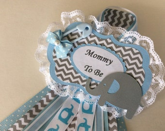 Boy baby shower corsage/Elephant baby shower corsage/Blue and grey elephant corsage/Baby boy corsage/Mommy to be corsage/Elegant baby shower