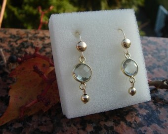 Gold Earrings, 585 gold filled with green amethyst