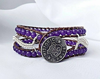 leather wrap bracelet, beaded wrap bracelet, leather wrap, gemstone leather bracelet, amethyst bracelet, wire wrap bracelet, wire wrap cuff