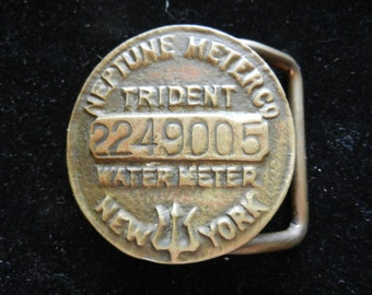 Vintage 1950s Neptune Meter Co Trident Water Meter New York numbered Belt Buckle