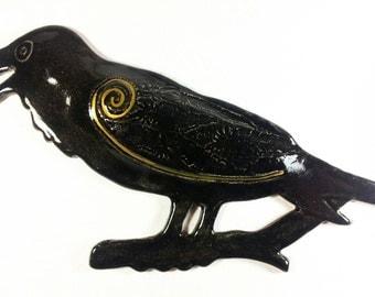 Bird sculpture, Crow and Raven wall art, crow sculptures, pottery bird, ceramic bird, bird figurine, bird wall art