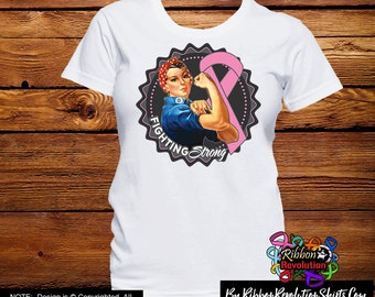 Pink Ribbon Fighting Strong Rosie The Riveter Shirts (October is Breast Cancer Awareness Month)