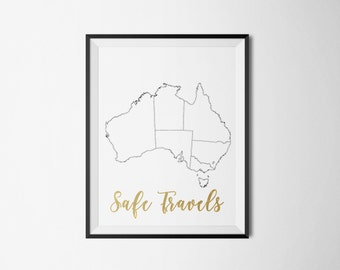Travel Australia, Safe Travels Foil Print- REAL FOIL