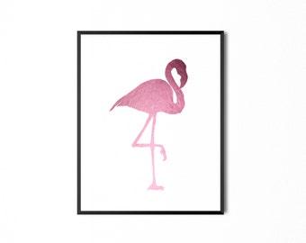 Pink Flamingo Foil Print, REAL FOIL PRINT. gold foil, silver foil, rose gold foil