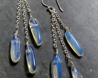 Opalite dangle drop earrings, gemstone earrings, crystal jewellery